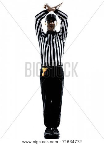 american football referee gestures personal foul in silhouette on white background