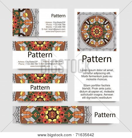 Business cards pattern with Islamic morocco ornament. Includes seamless pattern. RGB