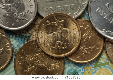Coins of Russia. Saint George killing the Dragon depicted in Russian kopek coins.