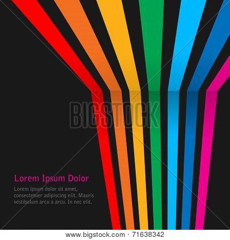 Rainbow stripes on dark background