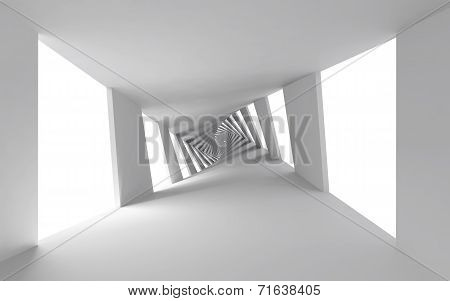 Abstract 3D Background With White Twisted Spiral Corridor