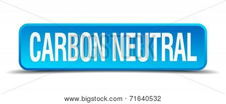 Carbon Neutral Blue 3D Realistic Square Isolated Button