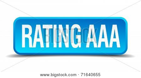 Rating Aaa Blue 3D Realistic Square Isolated Button