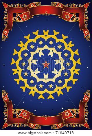 circus night mandala. A gold mandala in a blue night sky