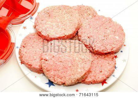 Fresh Raw Hamburgers Made With A Hamburger Press