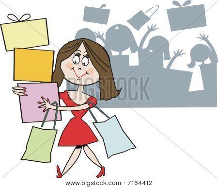 Smiling woman shopping cartoon