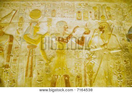 Hathor, Seti and Osiris wall painting