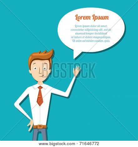 Illustration of cartoon manager with talk bubble