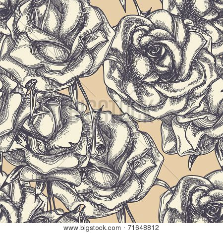 Vintage roses in bloom seamless pattern