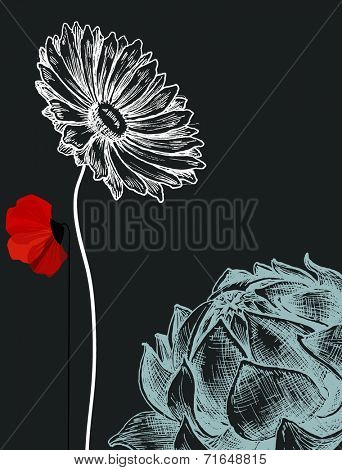 Flowers over dark background invitation