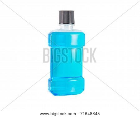 Blue Water Mouthwash Isolated