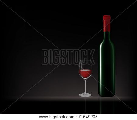 Bottles Of Red Wine In Dark Background