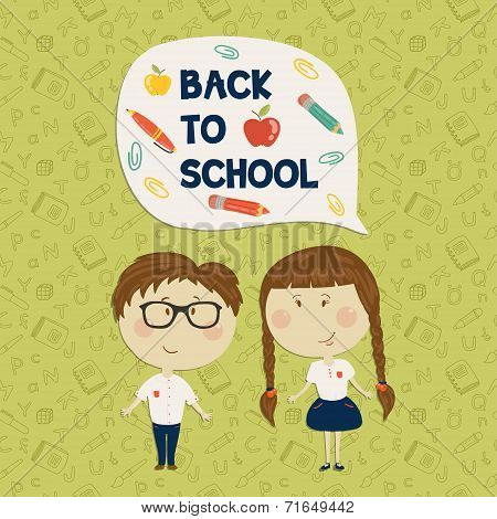 Young boy in glasses and little girl holding say back to school