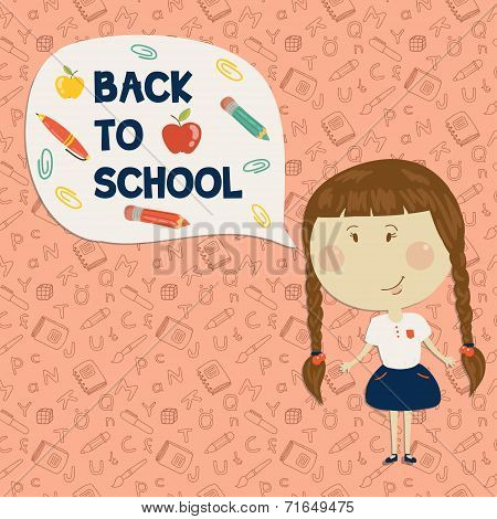 Little girl holding say back to school