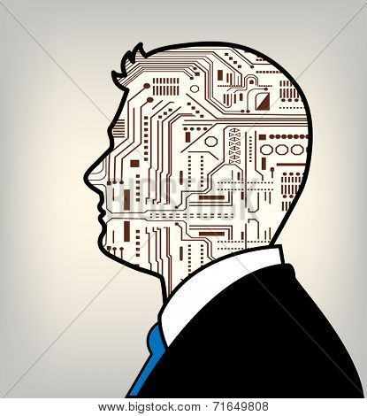 Male technology profile man robot in suit