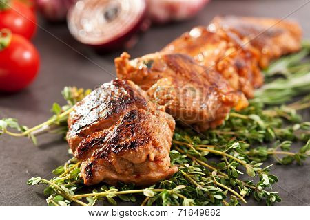 Skewered Pork with Vegetables and Rosemary