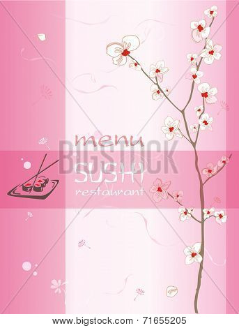 Trendy Restaurant Menu Background To Any Creative Contemporary Design. Sushi Bar Japan