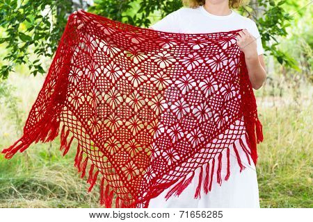 Woman Holds In Hands Knitted Shawl