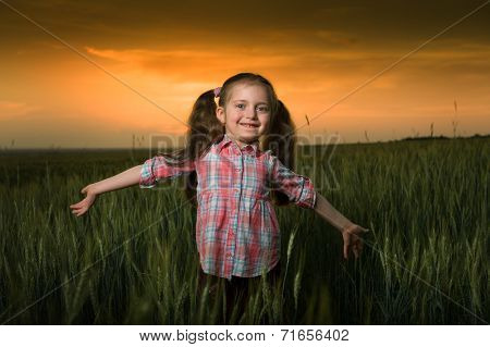 little girl at sunset in wheaten field