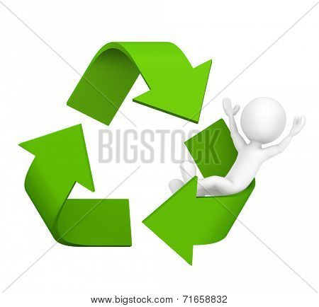 3D man with Recycle symbol.