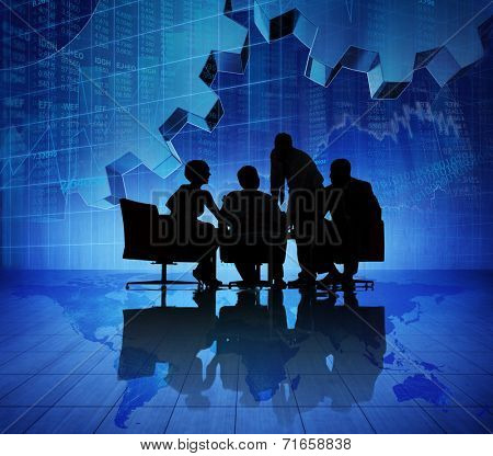 Group of Business People Meeting on Booming World Economic