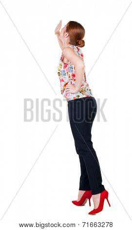 back view of woman screams with his hand to his mouth. girl  watching. Rear view people collection.  backside view of person.  Isolated over white background.  Girl in office attire stands back