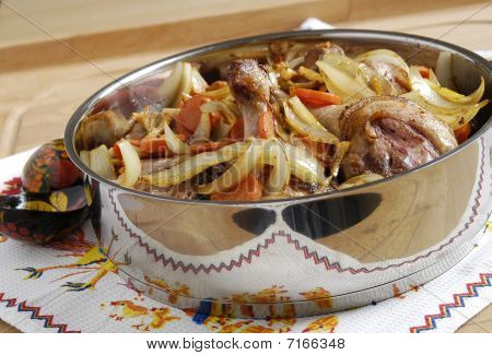 Roasted duck with vegetables