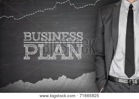 Business strategy concept on blackboard