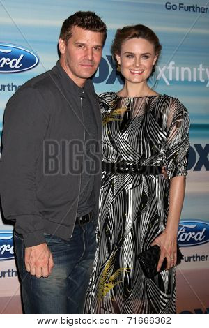 LOS ANGELES - SEP 8:  David Boreanaz, Emily Deschanel at the 2014 FOX Fall Eco-Casino at The Bungalow on September 8, 2014 in Santa Monica, CA