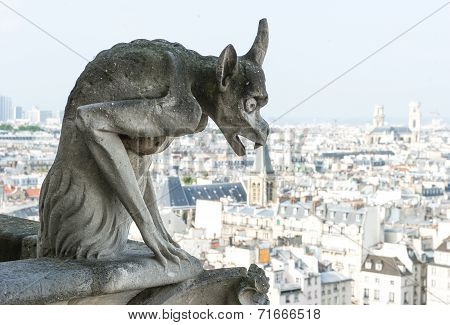 Gargoyle Statue With City Of Paris On Background