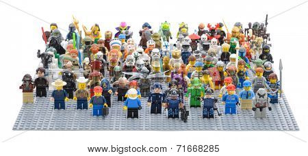 Ankara, Turkey - April 05, 2013 : Different type of Lego Minifigures from above isolated on white background.