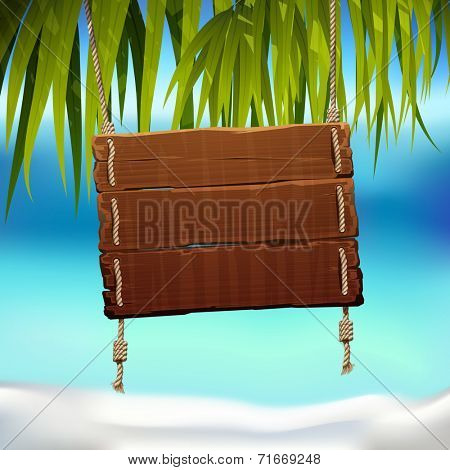 vector illustration of the wood frame under palm leafs