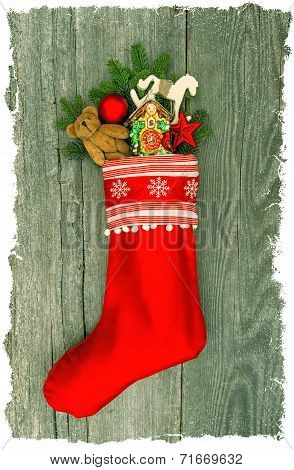 Christmas Stocking With Nostalgic Antique Toy Decoration