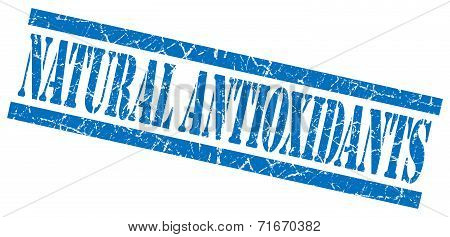 Natural Antioxidants Blue Square Grungy Isolated Rubber Stamp