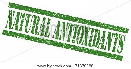 Natural Antioxidants Green Square Grungy Isolated Rubber Stamp