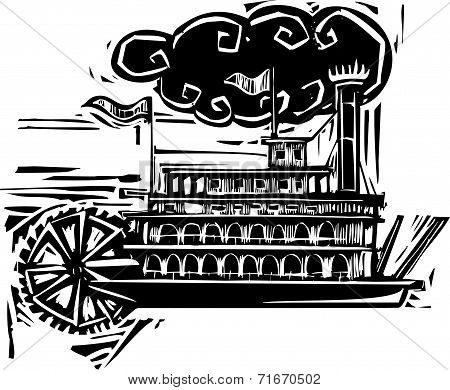 Woodcut Stern Wheel Riverboat