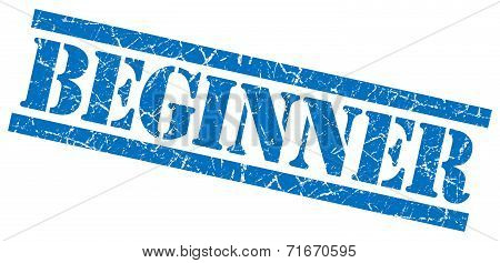 Beginner Blue Square Grungy Isolated Rubber Stamp