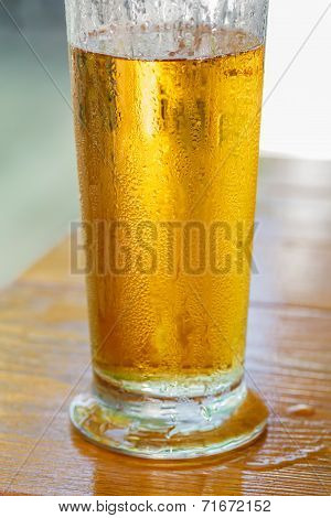 misted glass of cold drink close up
