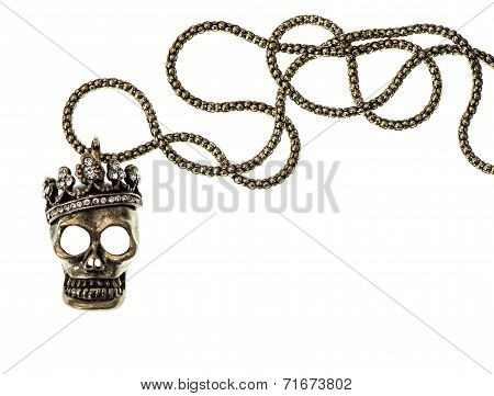 Queen Or King Skull With Crown Isolated On White