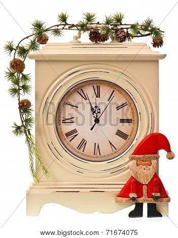 New Years Decoration With Clock And Santa Claus