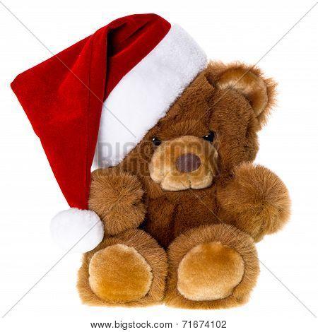 Cute Vintage Teddy Bear With Santa Hat