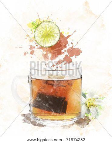 Watercolor Digital Painting Of Tea Cup
