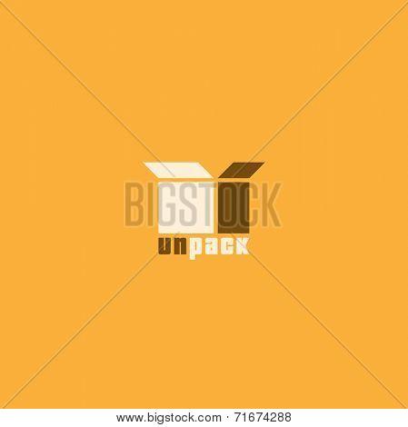 Box. Unpack symbol