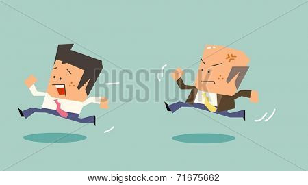 Chased by boss due to bad mood. Flat vector illustration