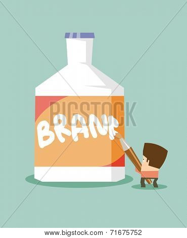 Branding your new product. Flat vector illustration