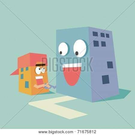 acquisition small company. Flat vector illustration