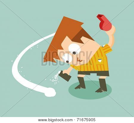 Vanishing spray and referee in soccer game. Flat vector illustration