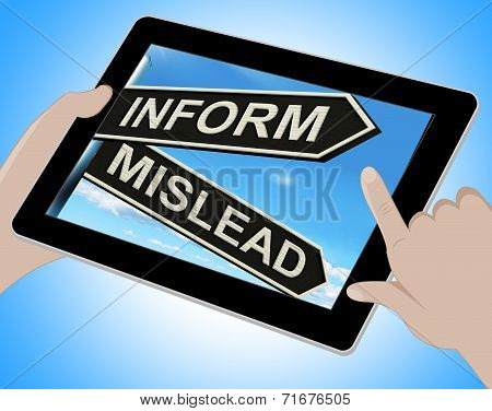 Inform Mislead Tablet Means Let Know Or Misguide