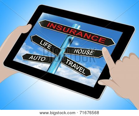 Insurance Tablet Means Life House Auto And Travel