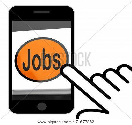 Jobs Button Displays Hiring Recruitment Online Hire Job